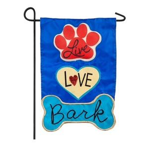 """INDOOR / OUTDOOR """"LIVE LOVE BARK"""" GARDEN FLAG"""